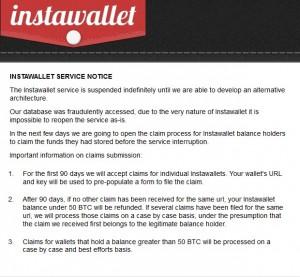 Zawieszona strona Instawallet
