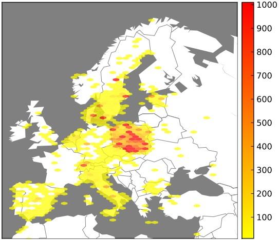 Lokalizacja adresów IP botnetu w Europie (źródło: CERT)