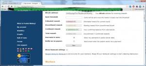 Zrzut ekranu konta w kopalni BTC