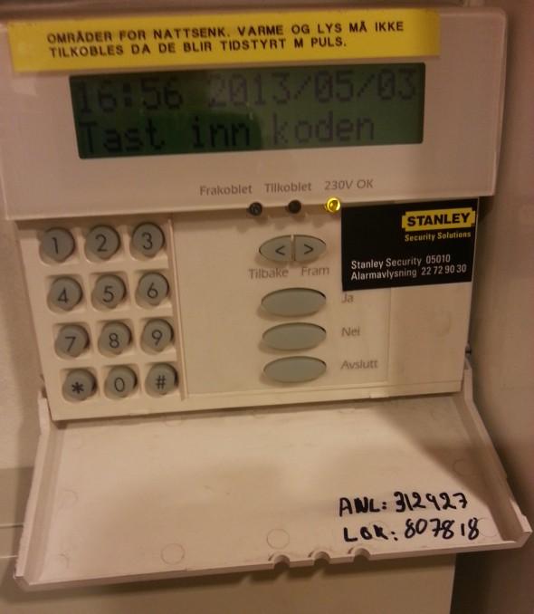 PIN systemu alarmowego budynku w Oslo