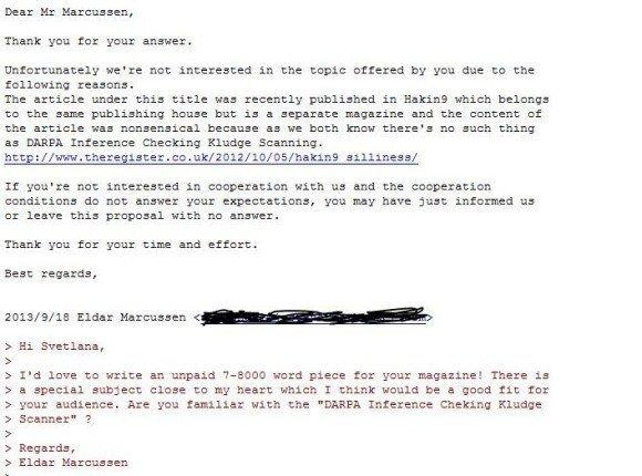 Prawidłowa reakcja na spam od Hakin9