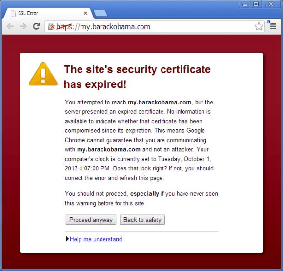 Problem z certyfikatem na stronie Obamy (źródło: Netcraft)