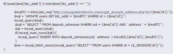 Fragment kodu odpowiedzialny za obsługę portfela BTC