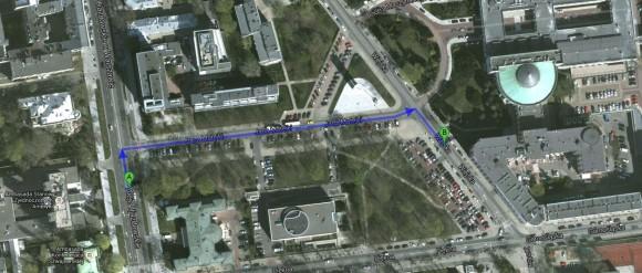 Odległość ambasady od Sejmu (źródło: Google Maps)