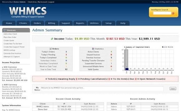 Przykładowy ekran WHMCS