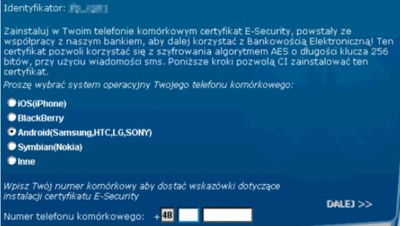 Ekran złośliwej aplikacji (źródło: CERT)