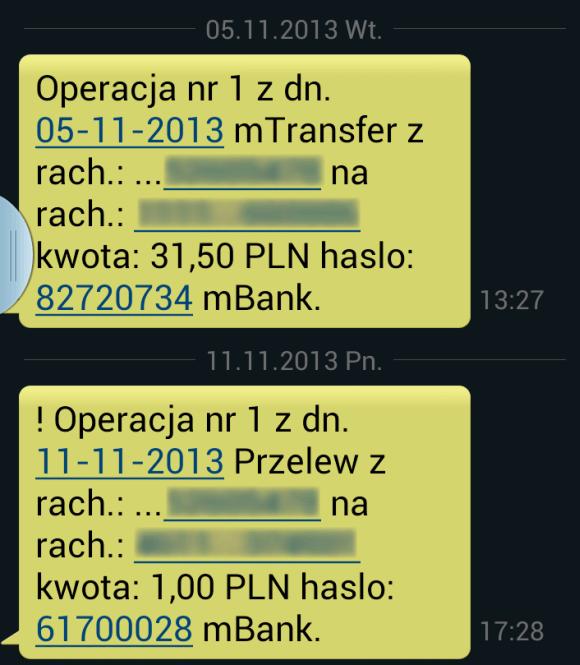 Zmiana w treści SMSów od mBanku