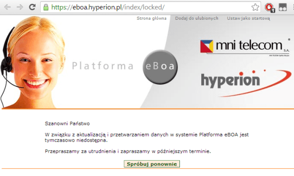 Nieczynna platforma eBOA