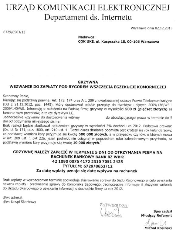 Skan pisma (źródło: UKE)