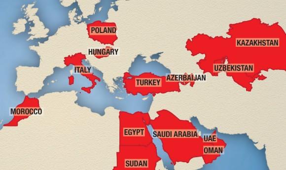 Fragment mapy serwerów (źródło: Citizen Lab)