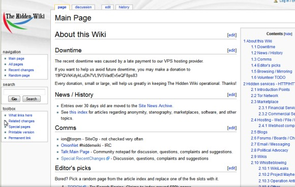 The Hidden Wiki przed włamaniem