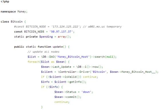 Fragment opublikowanego kodu