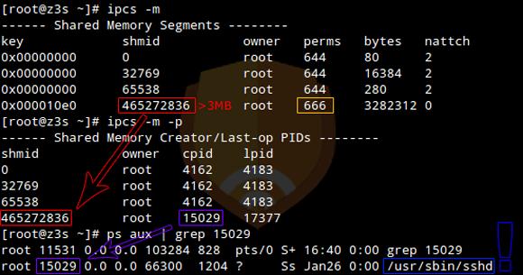 Analiza współdzielonych segmentów pamięci Linux/Ebury