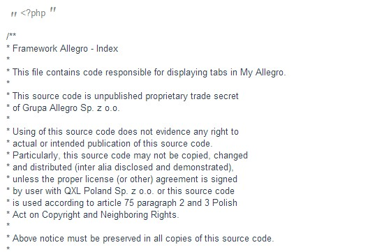 Fragment kodu źródłowego Allegro
