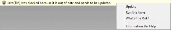 Internet Explorer 8 zablokowana Java, dająca możliwość aktualizacji