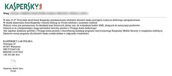 Wiadomość od oszustów (źródło: Kaspersky)