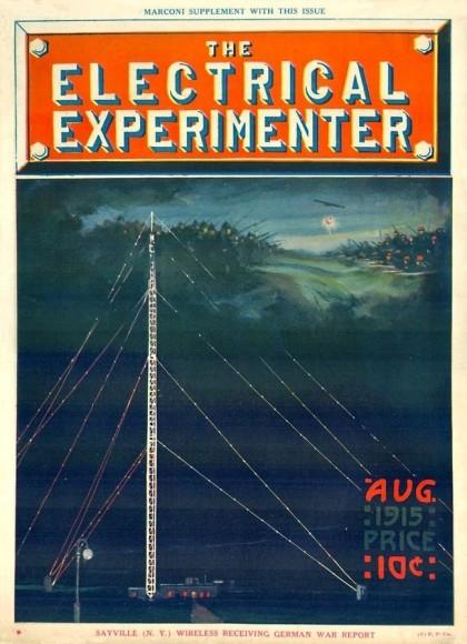 Radiotelegraf w Sayville na okładce magazynu z epoki