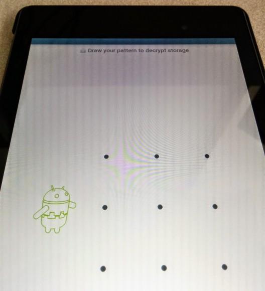 Ekran odblokowania zaszyfrowanego Nexusa 7 z Android L