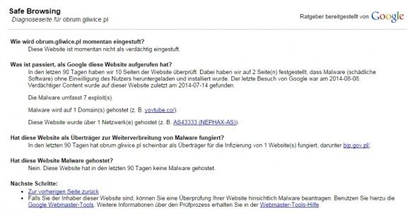 Komunikat Google Safe Browsing, informujący o złośliwym oprogramowaniu z lipca 2014 (znaleźliśmy już tylko wersję niemiecką)