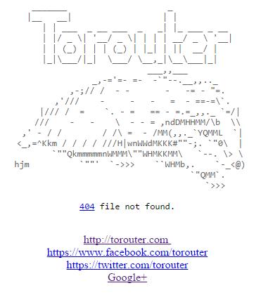 Błąd 404 strony Anonabox prowadzi do projektu torouter
