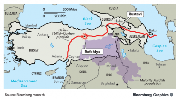 Przebieg rurociągu i miejsce ataku (źródło: Bloomberg)