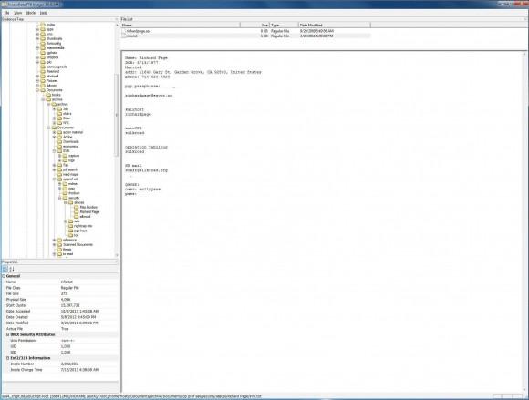 Zrzut ekranu pokazujący pliki na dysku Ulbrichta