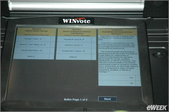 Ekran systemu głosowania