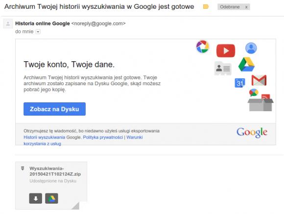 Email z danymi wyszukiwania