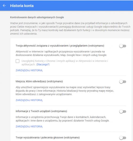 Ustawienia historii konta Google