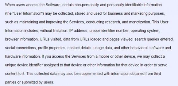 Fragment umowy, w której użytkownik oddaje obie nerki