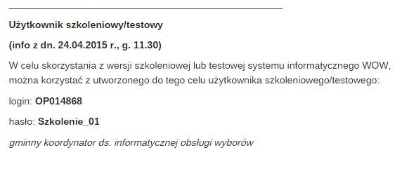 Login i hasło opublikowane na stronie urzędu