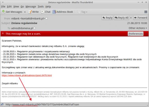 Wiadomość e-mail z regulaminem mBanku