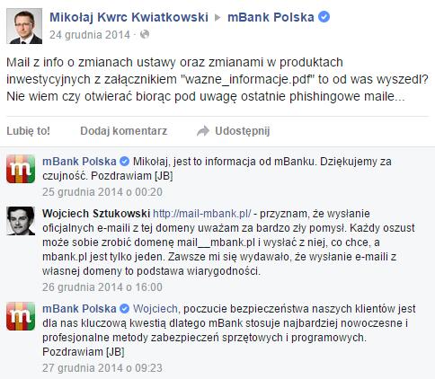 Pytanie o mail-mbank.pl na FB
