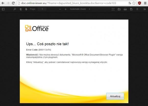 """Błąd"" MS Office"