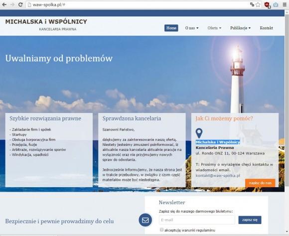 Witryna waw-spolka.pl, obecnie usunięta