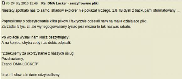Wpis na forum elektroda.pl dot. okupu DMA Locker