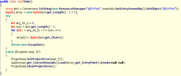 Fragment kodu uruchamiający jeden z zasobów
