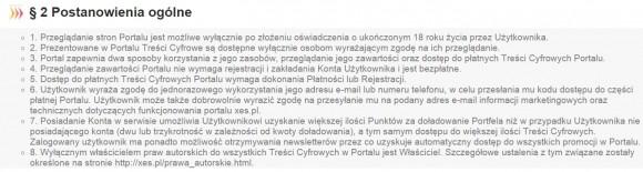 Regulamin xes.pl
