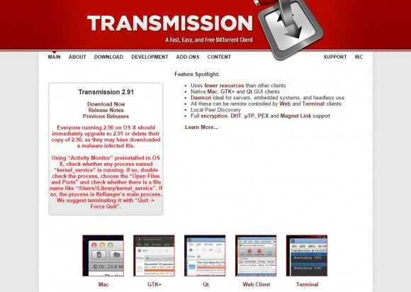 Komunikat na stronie projektu