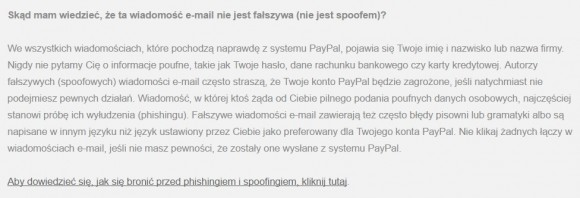 Wiadomość od Paypala