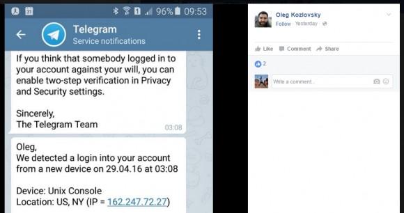 Wiadomość od Telegramu