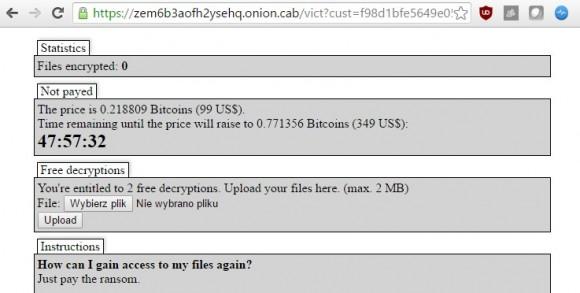Strona ransomware