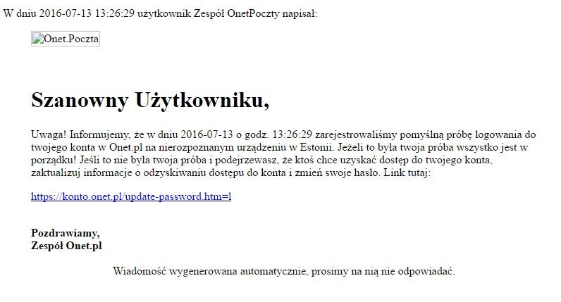 6e587f71d0691c Uwaga, atak na użytkowników skrzynek pocztowych w Onecie | Zaufana ...