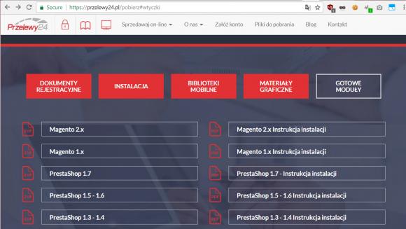 Lista modułów oferowanych przez Przelewy24