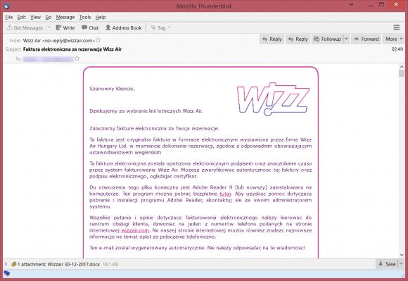 Uwaga Na Nową Kampanię Malware Elektroniczna Faktura Od Wizzair