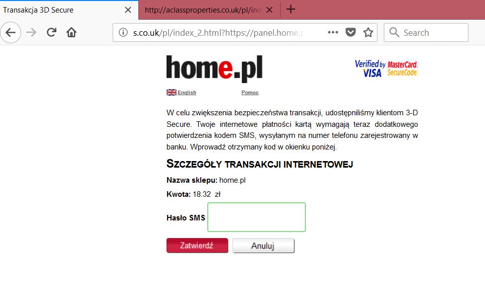 Ciekawe ataki phishingowe na klientów firmy home pl