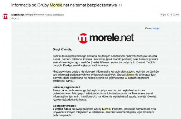 Wspaniały Baza danych 2,5 miliona klientów Morele.net wrzucona do sieci ED22