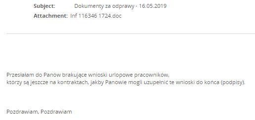 Przykłady wiadomości e-mail, które otrzymywali polscy odbiorcy Emoteta