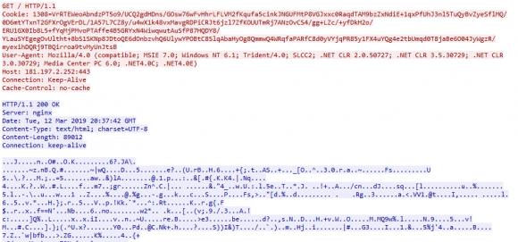 Komunikacja sieciowa z serwerem Command and Control (wersja z payload w cookie)